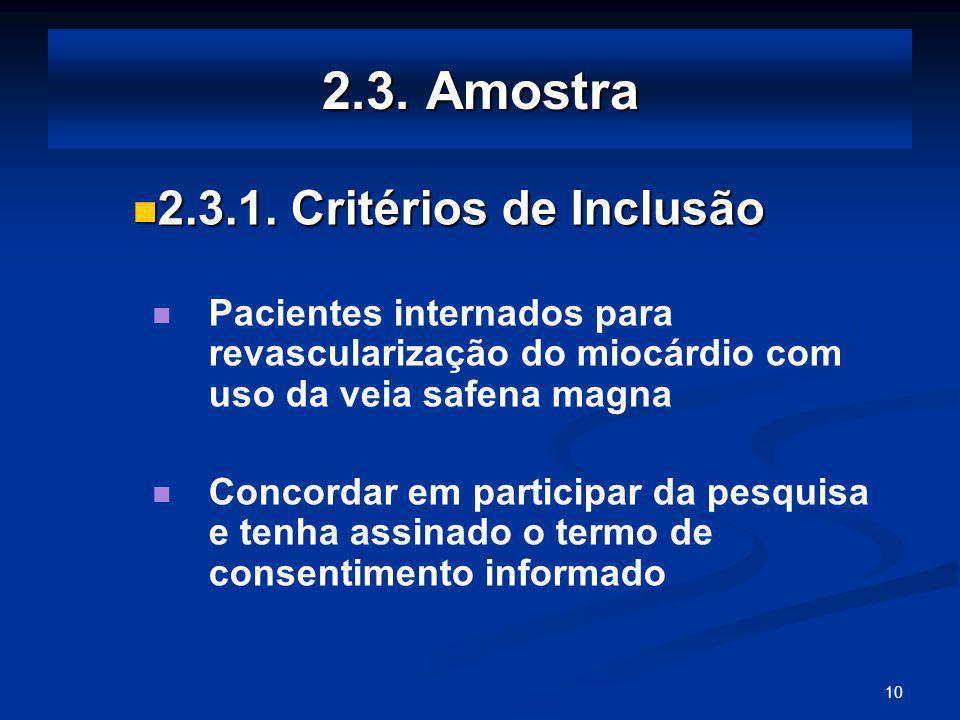 2.3. Amostra 2.3.1. Critérios de Inclusão
