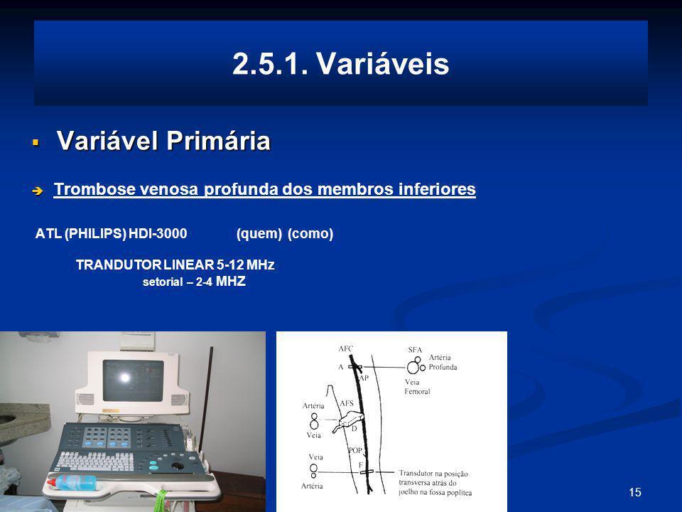 2.5.1. Variáveis Variável Primária TRANDUTOR LINEAR 5-12 MHz