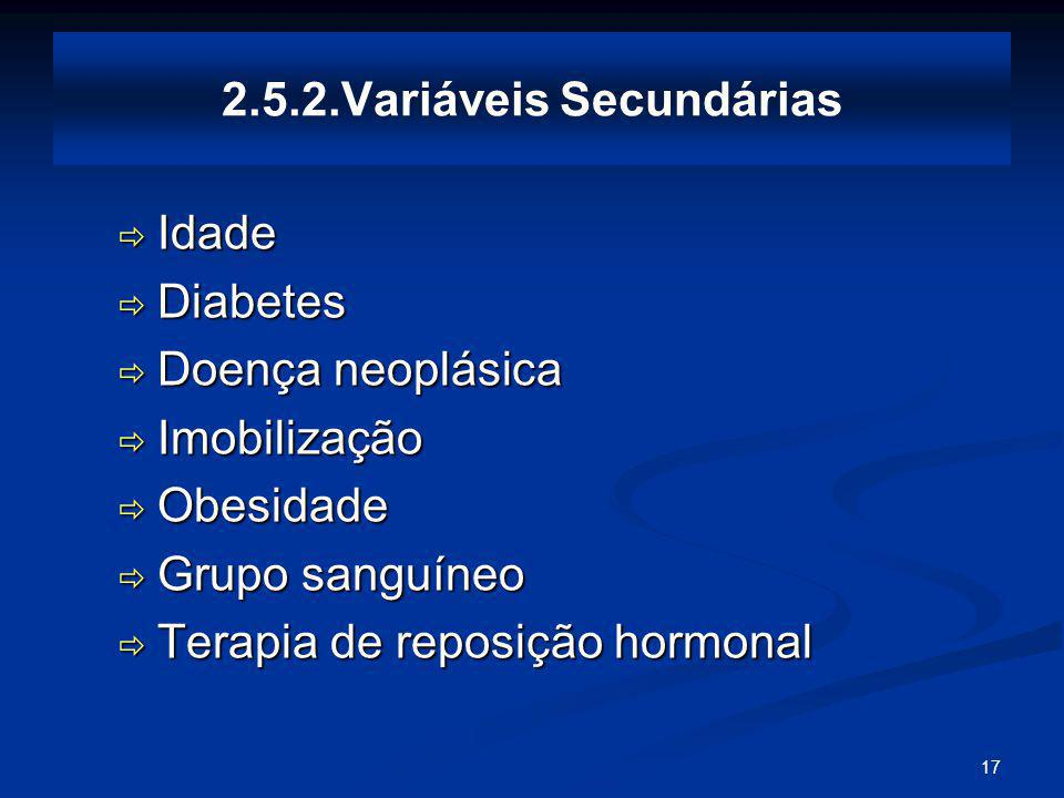 2.5.2.Variáveis Secundárias