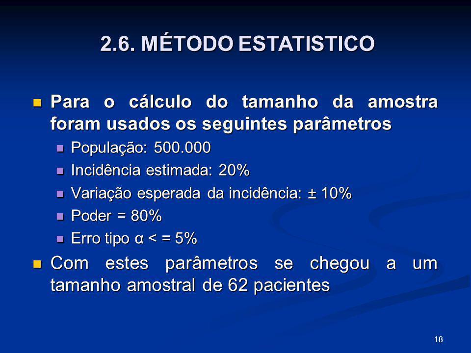 2.6. MÉTODO ESTATISTICO Para o cálculo do tamanho da amostra foram usados os seguintes parâmetros. População: 500.000.