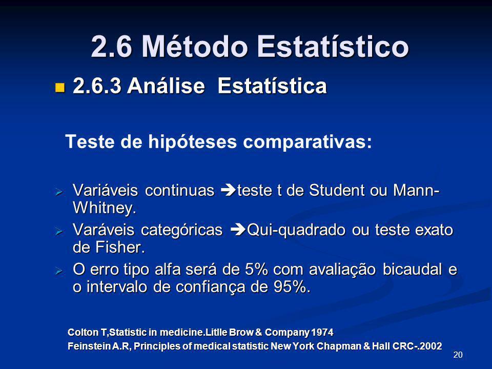 2.6 Método Estatístico 2.6.3 Análise Estatística