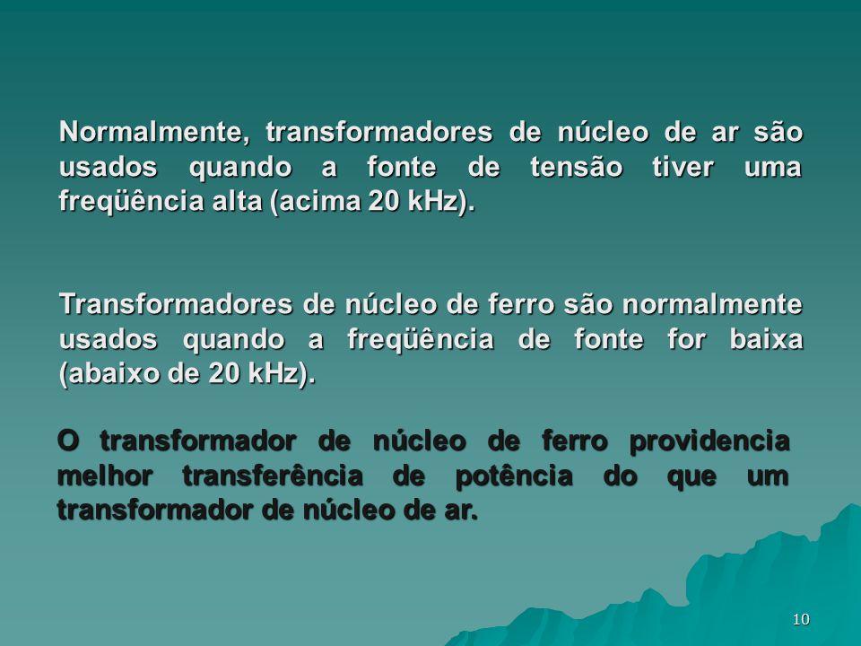 Normalmente, transformadores de núcleo de ar são usados quando a fonte de tensão tiver uma freqüência alta (acima 20 kHz).