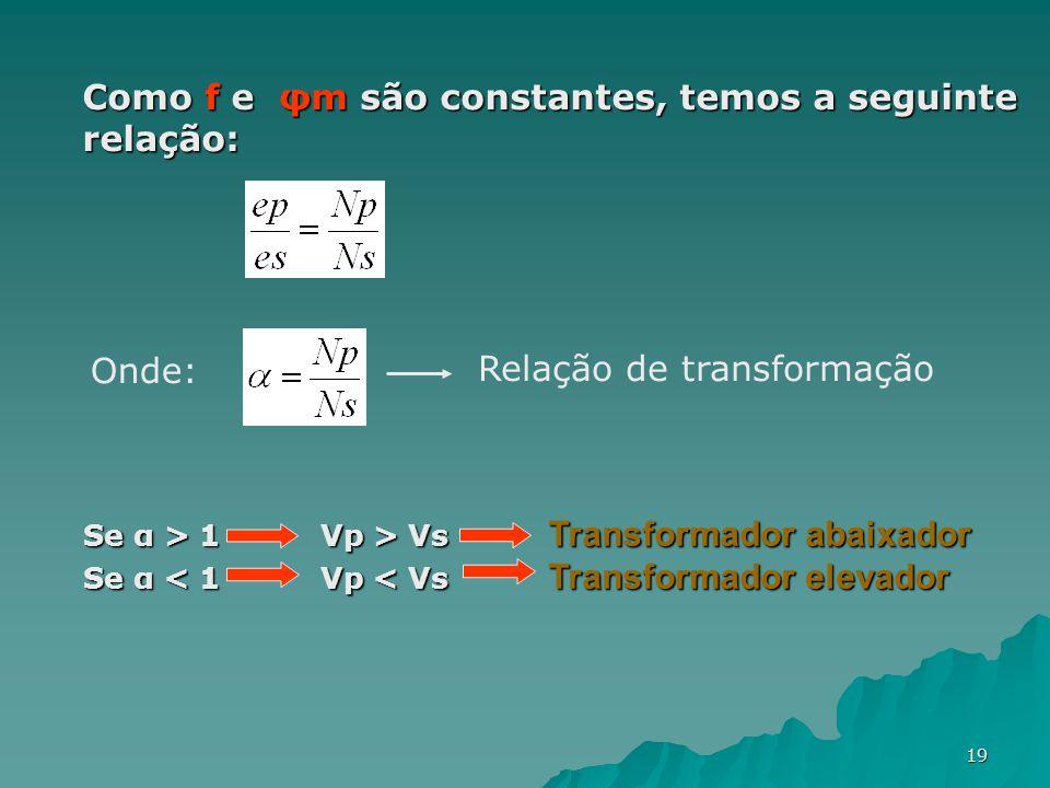 Como f e φm são constantes, temos a seguinte relação: