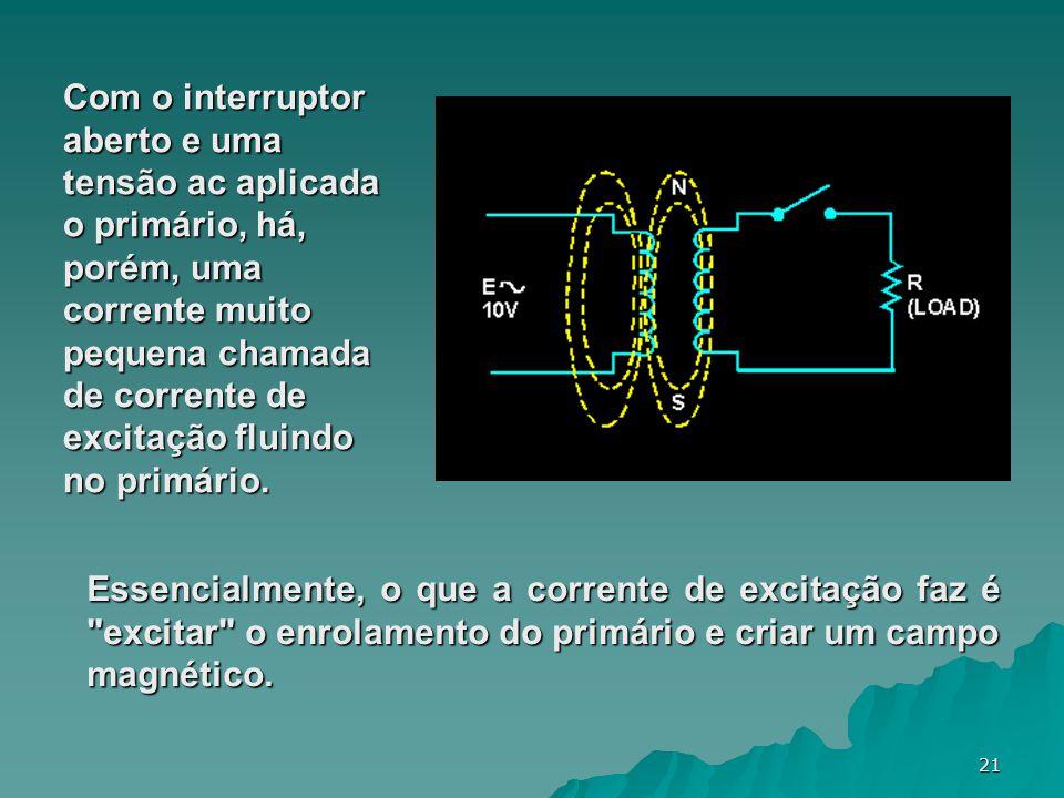 Com o interruptor aberto e uma tensão ac aplicada o primário, há, porém, uma corrente muito pequena chamada de corrente de excitação fluindo no primário.