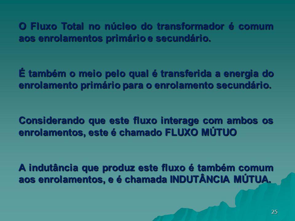 O Fluxo Total no núcleo do transformador é comum aos enrolamentos primário e secundário.