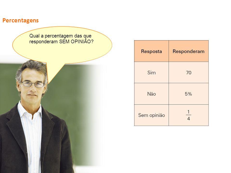Percentagens Qual a percentagem das que responderam SEM OPINIÃO
