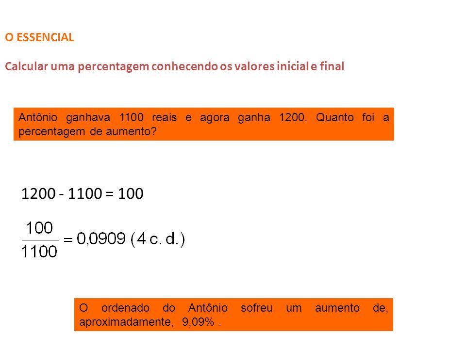 O ESSENCIAL Calcular uma percentagem conhecendo os valores inicial e final.