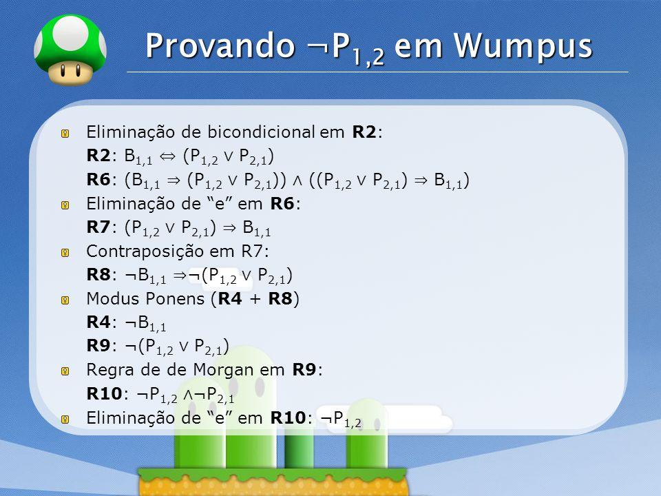 Provando ¬P1,2 em Wumpus Eliminação de bicondicional em R2: