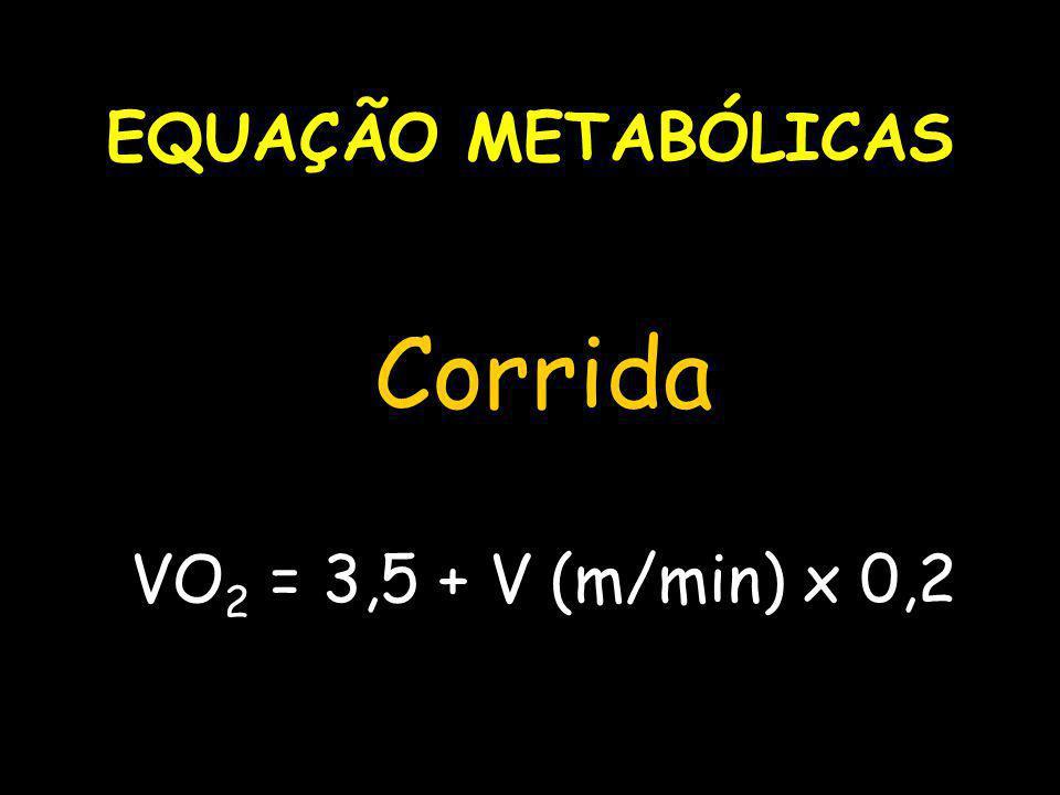 EQUAÇÃO METABÓLICAS Corrida VO2 = 3,5 + V (m/min) x 0,2