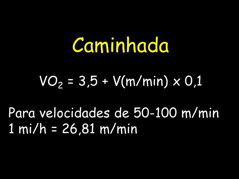 Caminhada VO2 = 3,5 + V(m/min) x 0,1 Para velocidades de 50-100 m/min