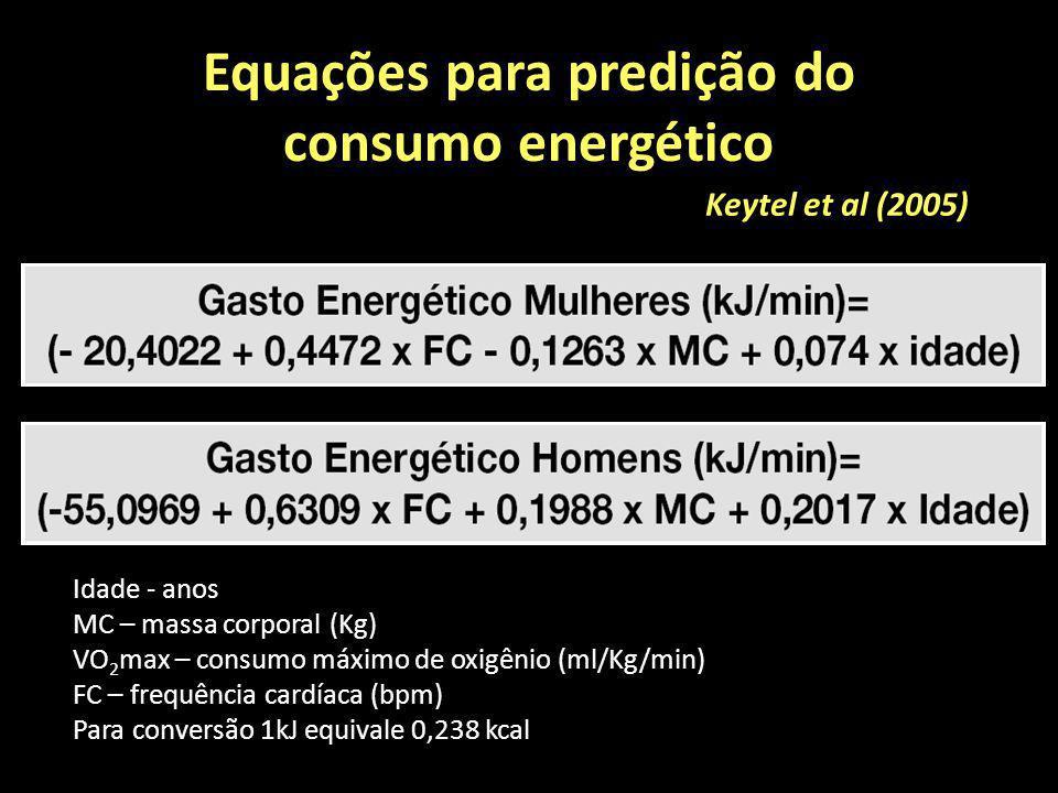 Equações para predição do consumo energético