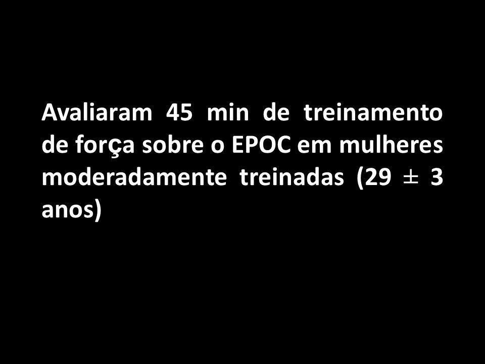 Avaliaram 45 min de treinamento de força sobre o EPOC em mulheres moderadamente treinadas (29 ± 3 anos)