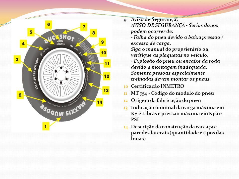 9 Aviso de Segurança: AVISO DE SEGURANÇA - Serios danos podem ocorrer de: - Falha do pneu devido a baixa pressão / excesso de carga. Siga o manual do proprietário ou verifique as plaquetas no veículo. - Explosão do pneu ou encaixe da roda devido a montagem inadequada. Somente pessoas especialmente treinadas devem montar os pneus.