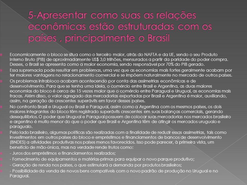 5-Apresentar como suas as relações econômicas estão estruturadas com os países , principalmente o Brasil