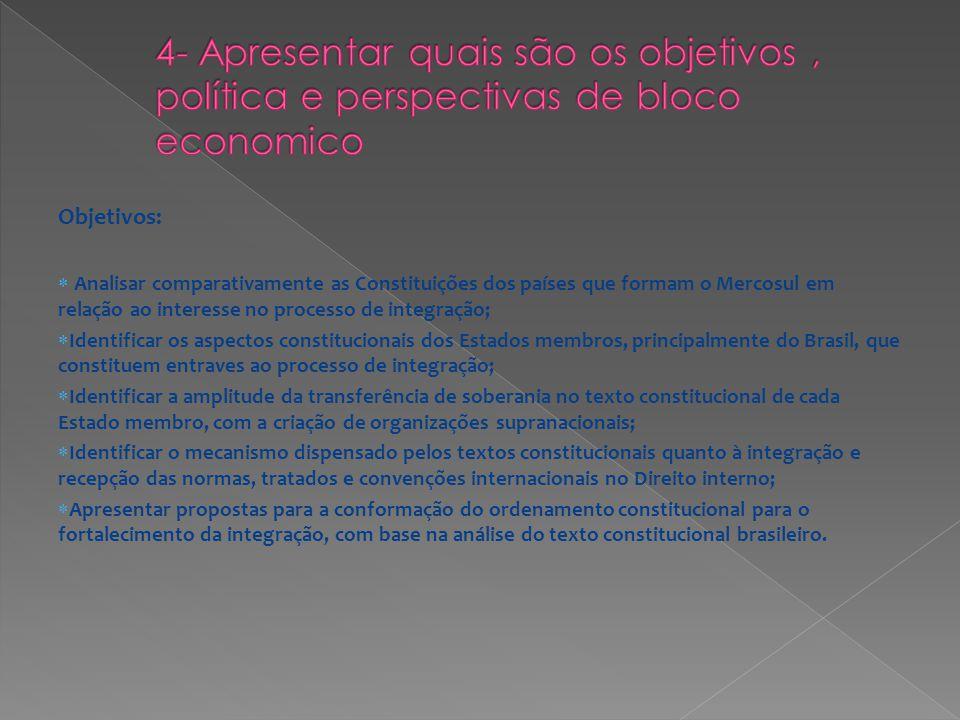 4- Apresentar quais são os objetivos , política e perspectivas de bloco economico