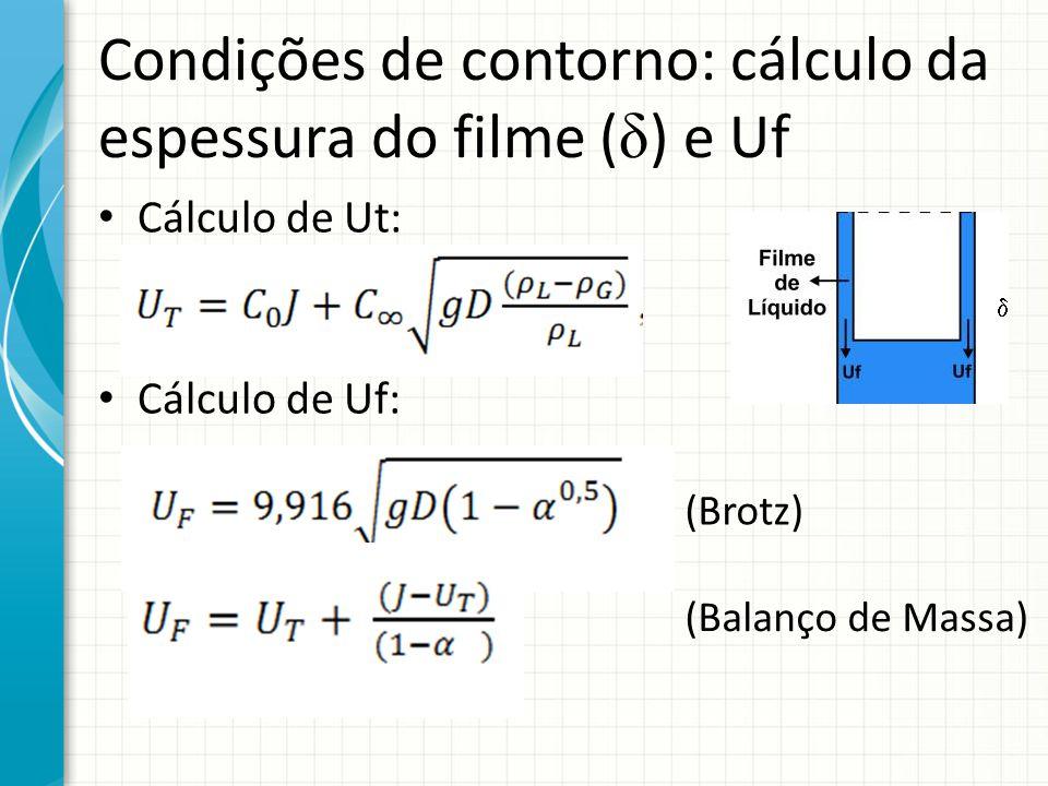 Condições de contorno: cálculo da espessura do filme (δ) e Uf