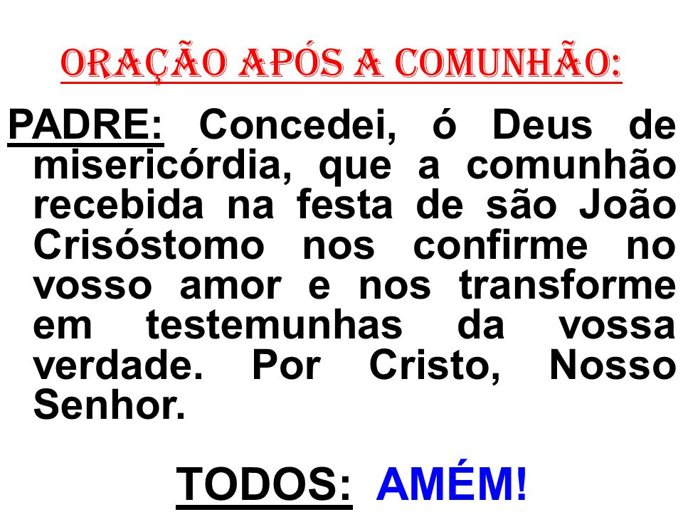 ORAÇÃO APÓS A COMUNHÃO: