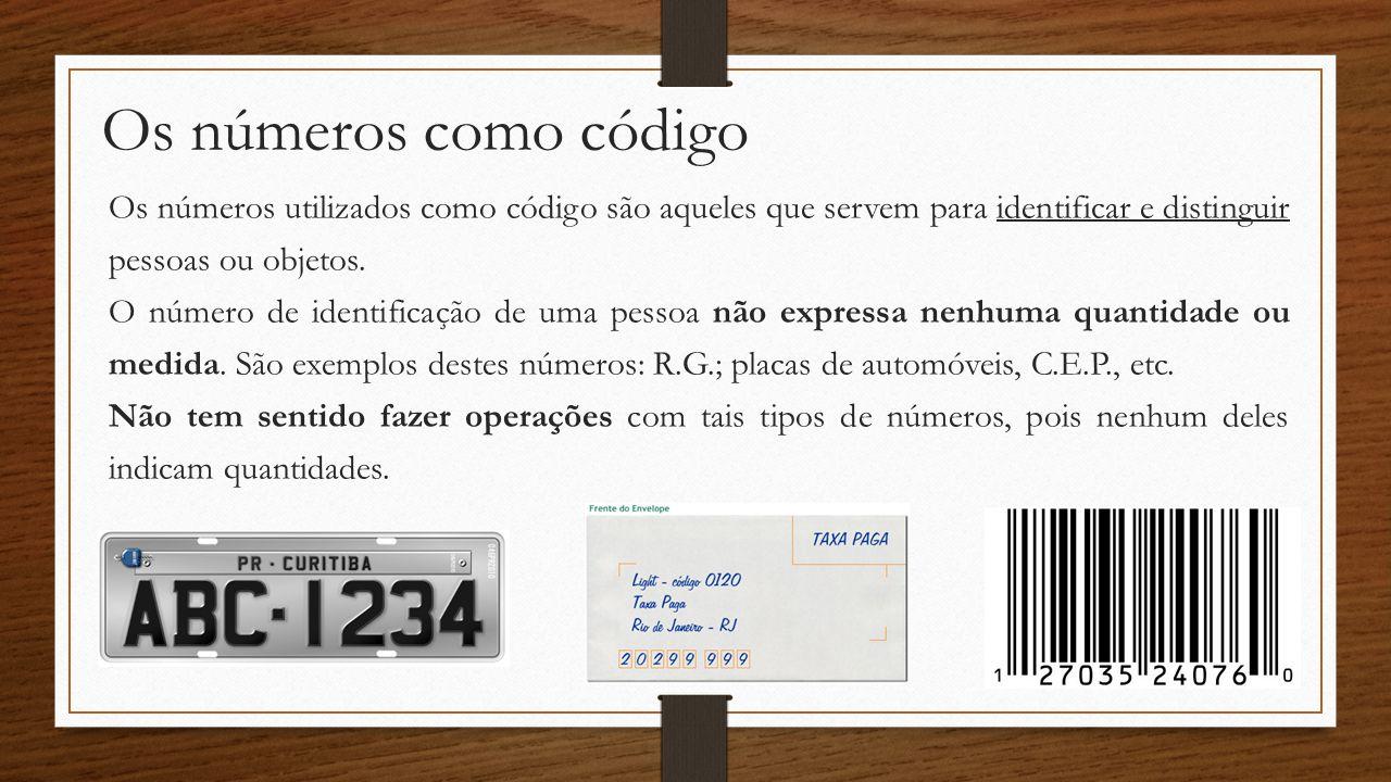 Os números como código Os números utilizados como código são aqueles que servem para identificar e distinguir pessoas ou objetos.