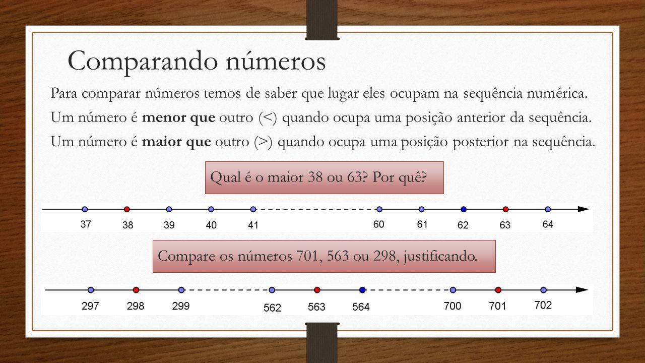 Comparando números Para comparar números temos de saber que lugar eles ocupam na sequência numérica.