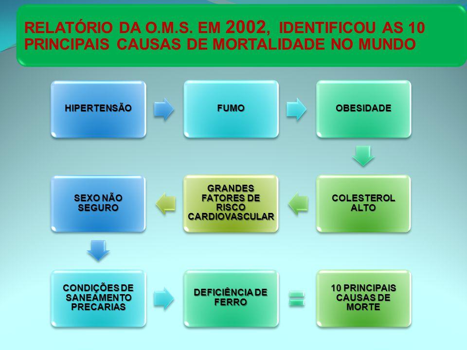 RELATÓRIO DA O.M.S. EM 2002, IDENTIFICOU AS 10 PRINCIPAIS CAUSAS DE MORTALIDADE NO MUNDO