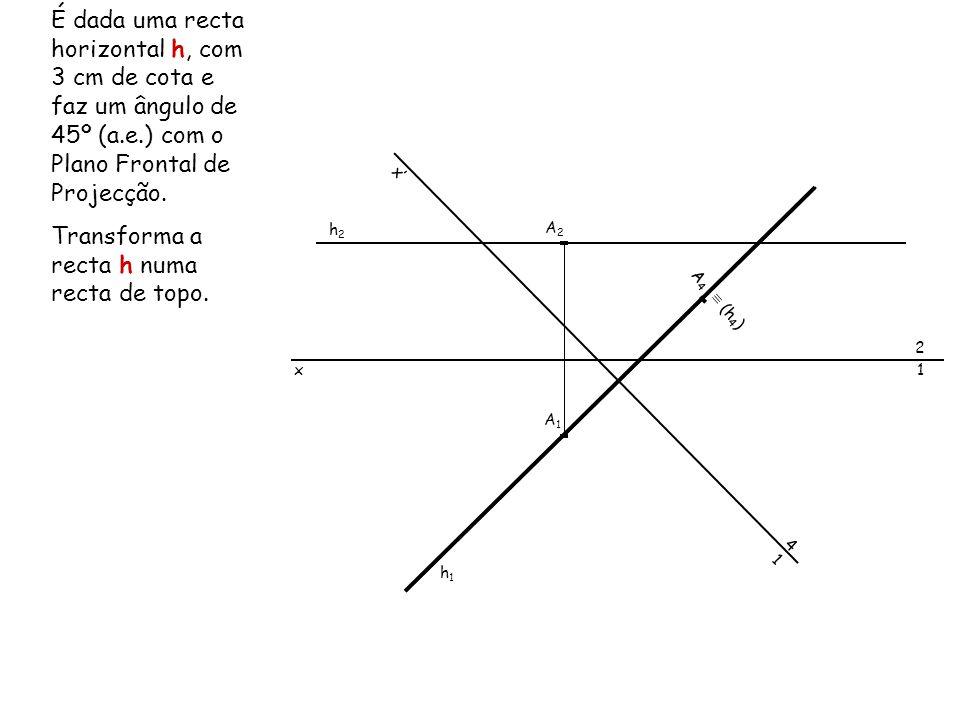 Transforma a recta h numa recta de topo.