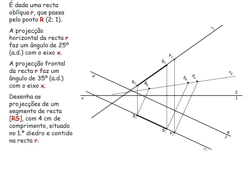 É dada uma recta oblíqua r, que passa pelo ponto R (2; 1).