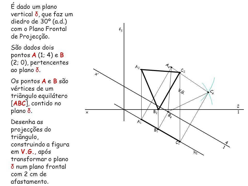 São dados dois pontos A (1; 4) e B (2; 0), pertencentes ao plano δ.