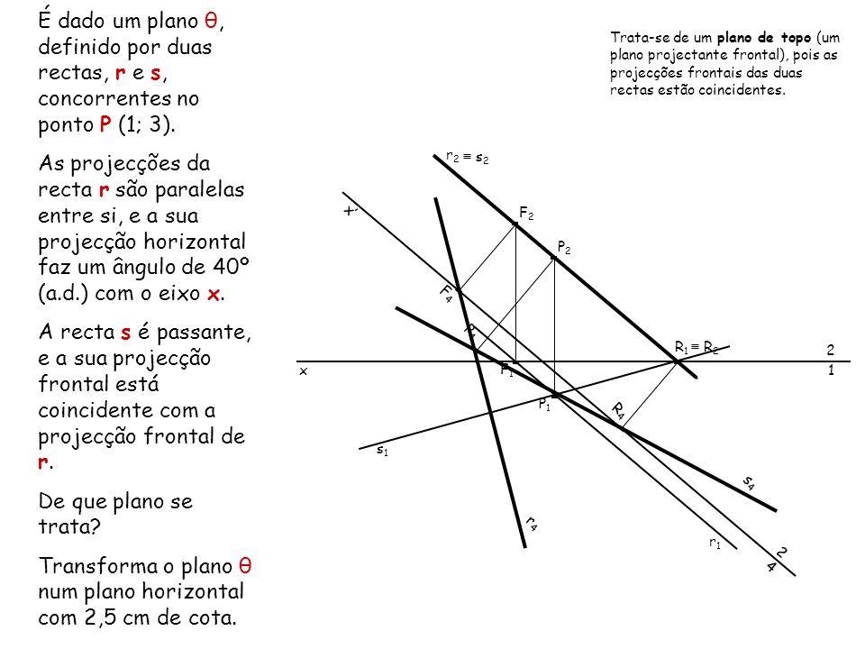 Transforma o plano θ num plano horizontal com 2,5 cm de cota.