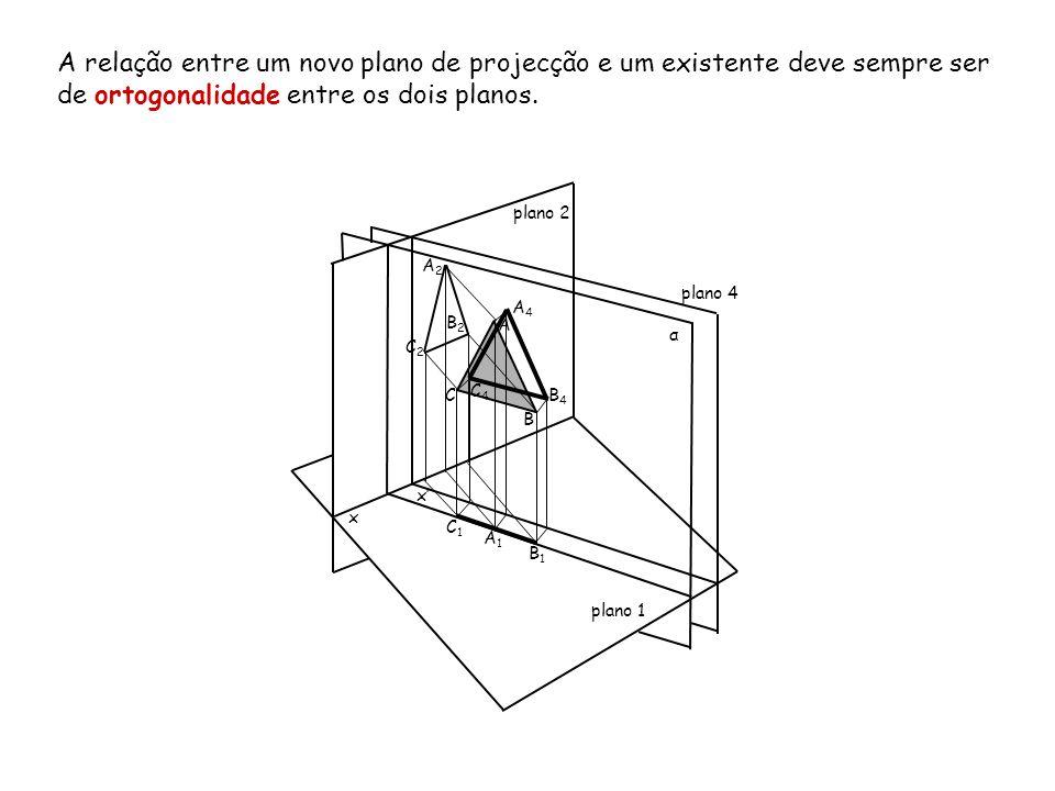 A relação entre um novo plano de projecção e um existente deve sempre ser de ortogonalidade entre os dois planos.