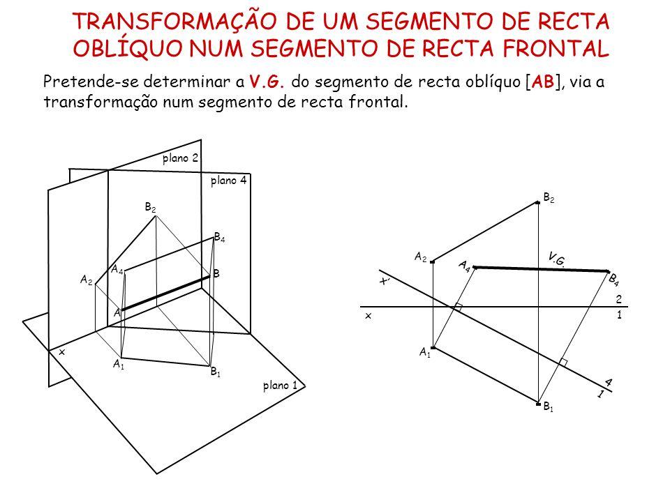 TRANSFORMAÇÃO DE UM SEGMENTO DE RECTA OBLÍQUO NUM SEGMENTO DE RECTA FRONTAL