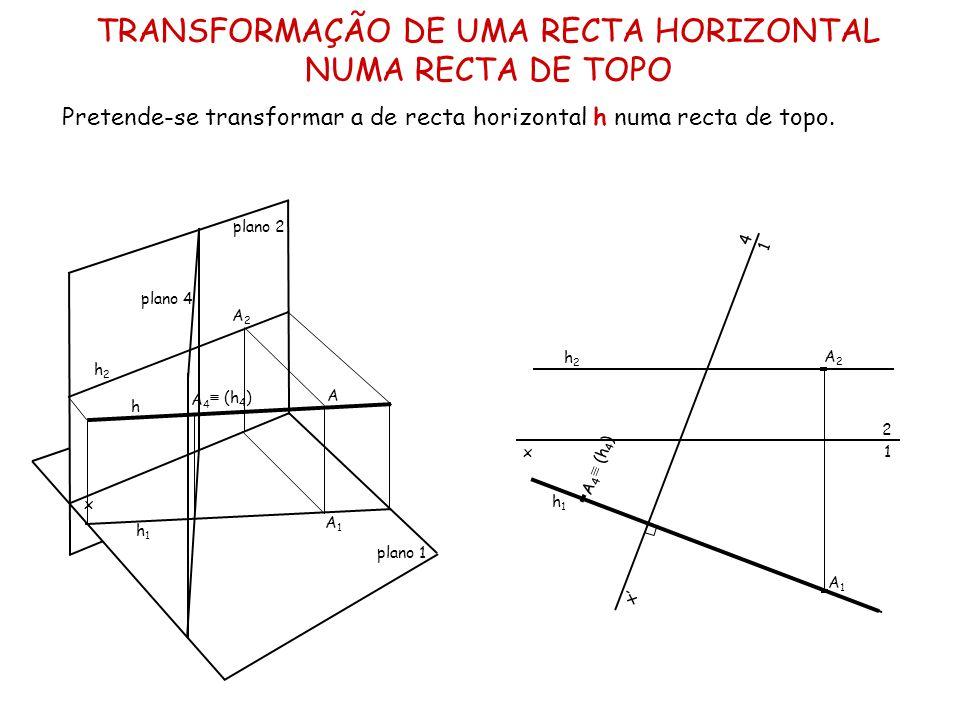 TRANSFORMAÇÃO DE UMA RECTA HORIZONTAL NUMA RECTA DE TOPO
