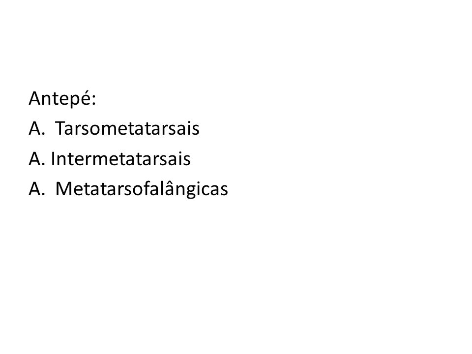 Antepé: Tarsometatarsais A. Intermetatarsais Metatarsofalângicas