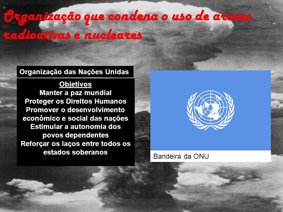 Organização que condena o uso de armas radioativas e nucleares