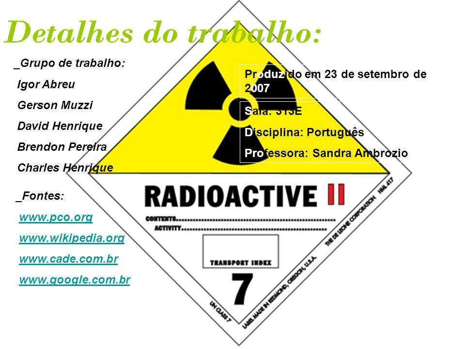 Detalhes do trabalho: _Grupo de trabalho: Igor Abreu
