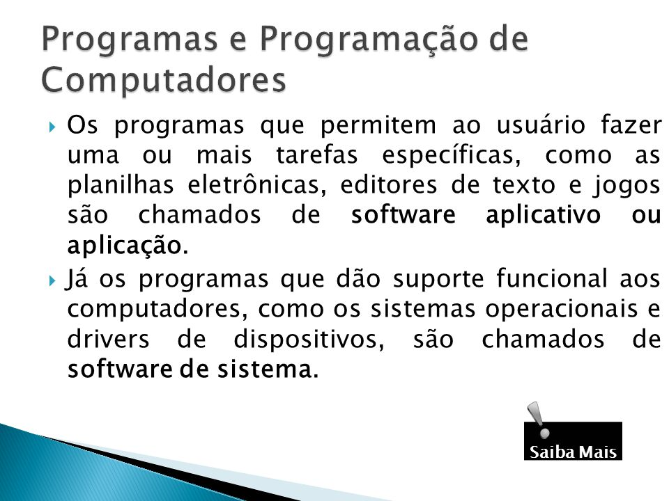 Programas e Programação de Computadores
