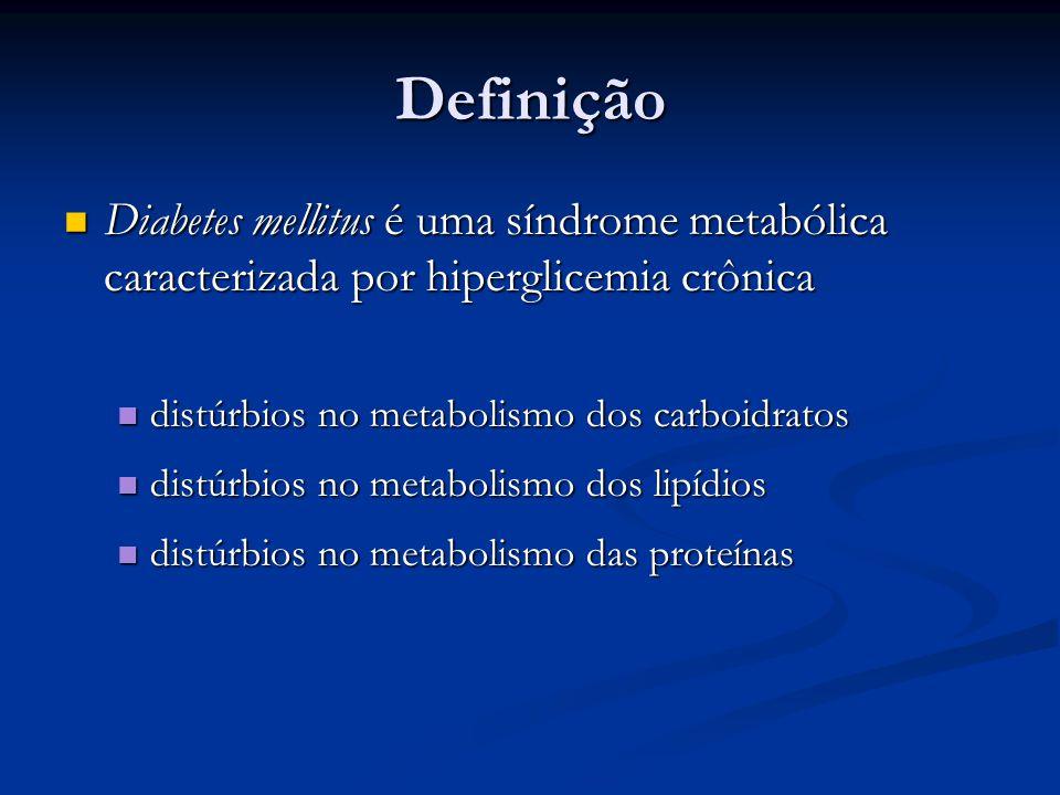 Definição Diabetes mellitus é uma síndrome metabólica caracterizada por hiperglicemia crônica. distúrbios no metabolismo dos carboidratos.