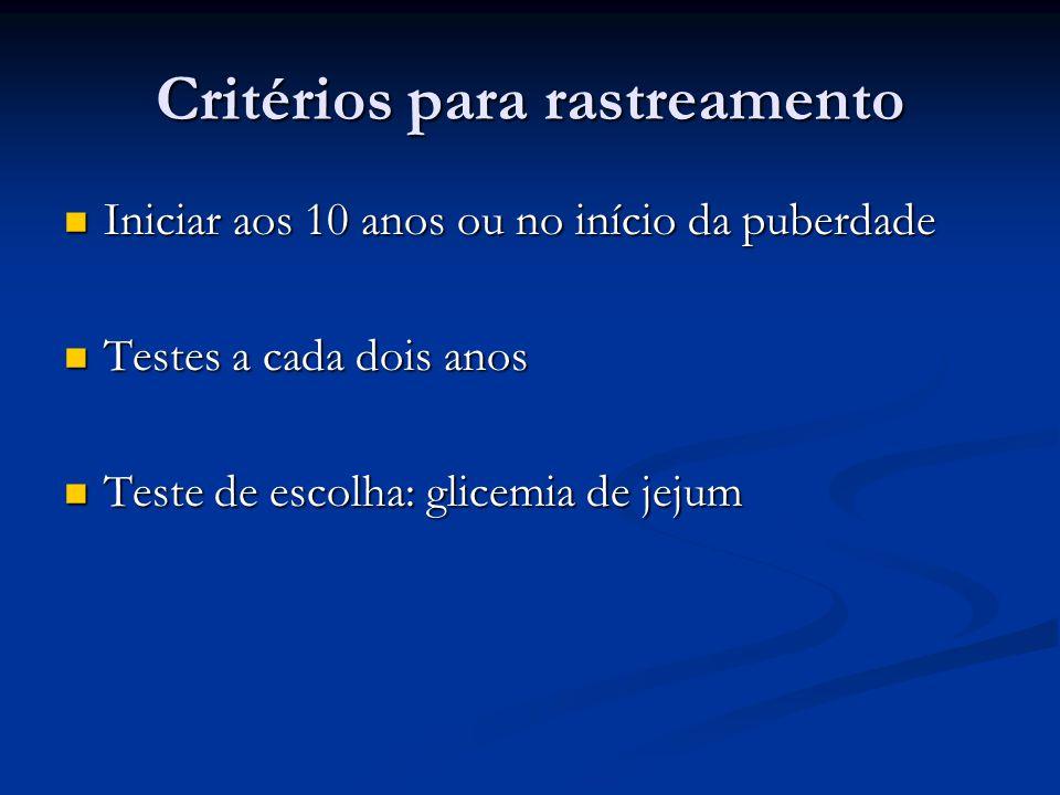 Critérios para rastreamento