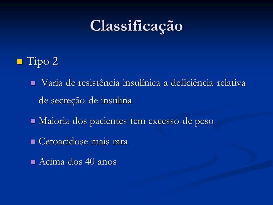 Classificação Tipo 2. Varia de resistência insulínica a deficiência relativa de secreção de insulina.