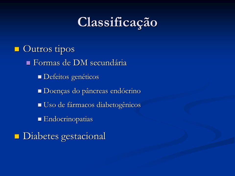 Classificação Outros tipos Diabetes gestacional