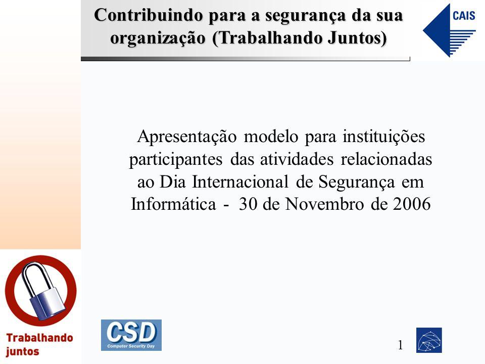 Apresentação modelo para instituições