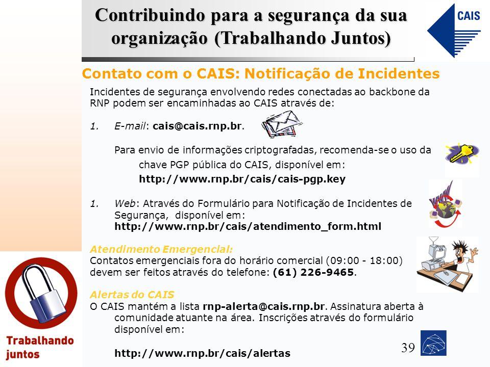 Contato com o CAIS: Notificação de Incidentes