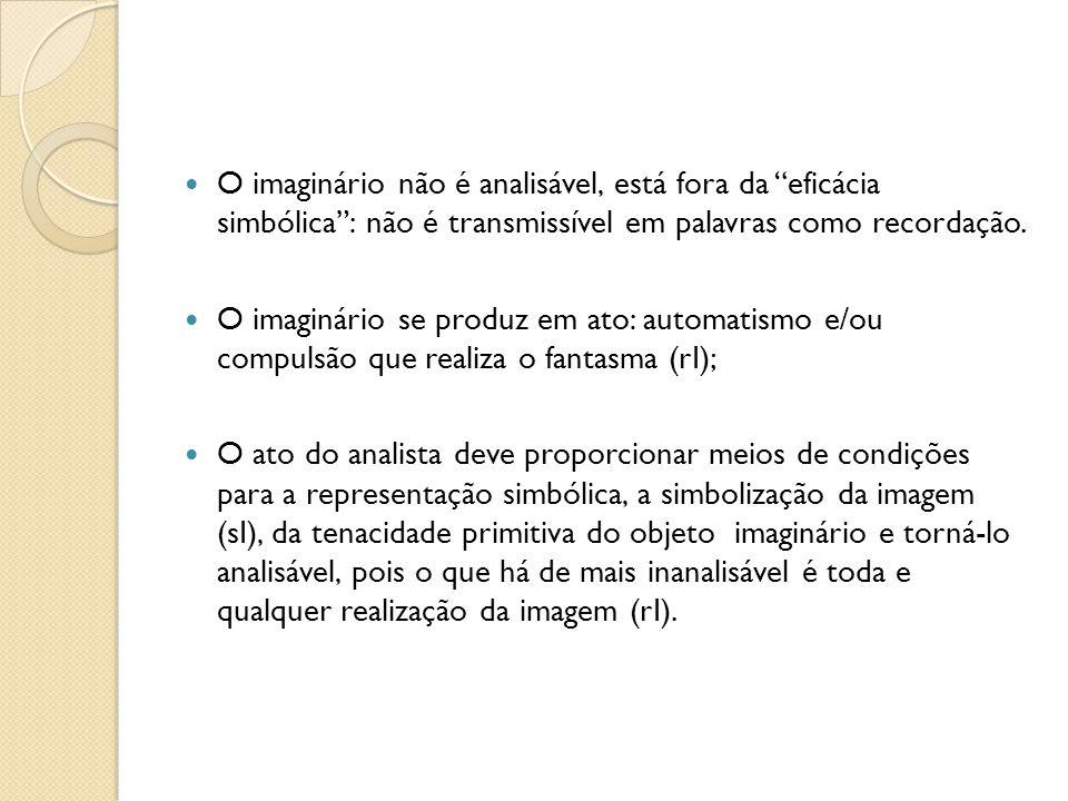 O imaginário não é analisável, está fora da eficácia simbólica : não é transmissível em palavras como recordação.
