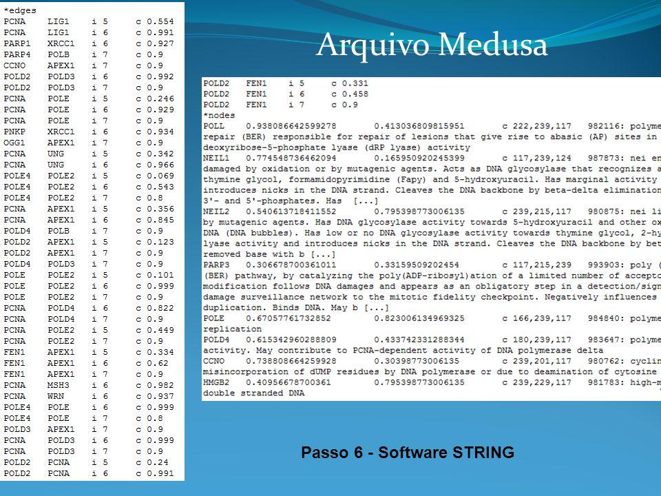 Arquivo Medusa Passo 6 - Software STRING