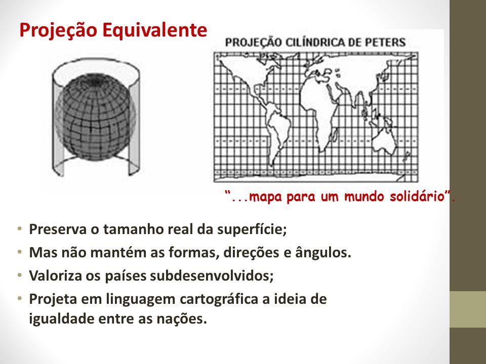 Projeção Equivalente Preserva o tamanho real da superfície;