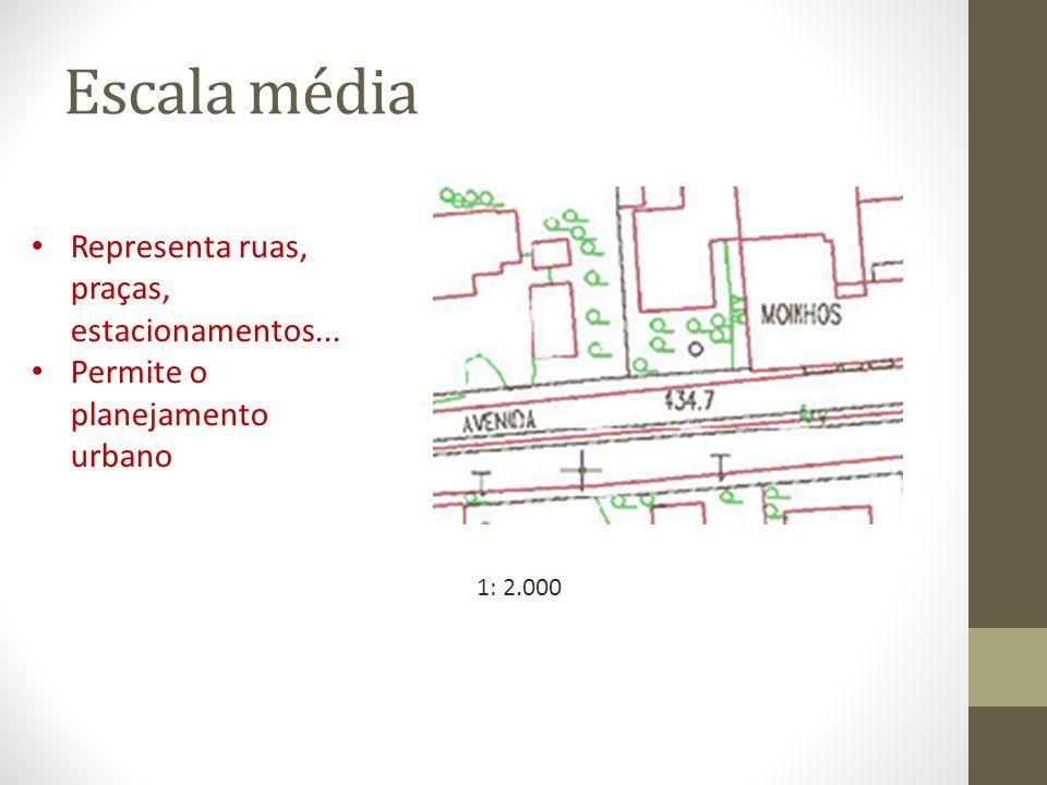 Escala média Representa ruas, praças, estacionamentos...