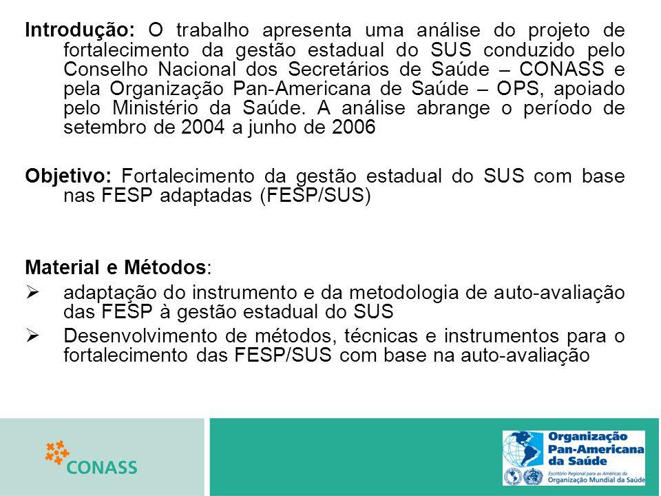 Introdução: O trabalho apresenta uma análise do projeto de fortalecimento da gestão estadual do SUS conduzido pelo Conselho Nacional dos Secretários de Saúde – CONASS e pela Organização Pan-Americana de Saúde – OPS, apoiado pelo Ministério da Saúde. A análise abrange o período de setembro de 2004 a junho de 2006