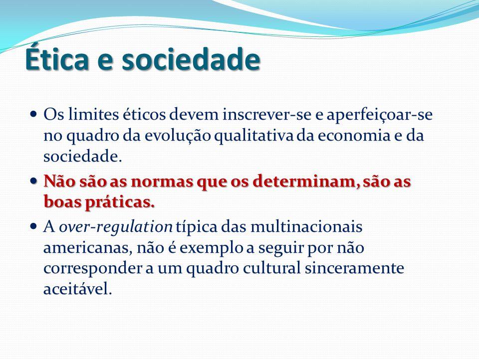 Ética e sociedade Os limites éticos devem inscrever-se e aperfeiçoar-se no quadro da evolução qualitativa da economia e da sociedade.