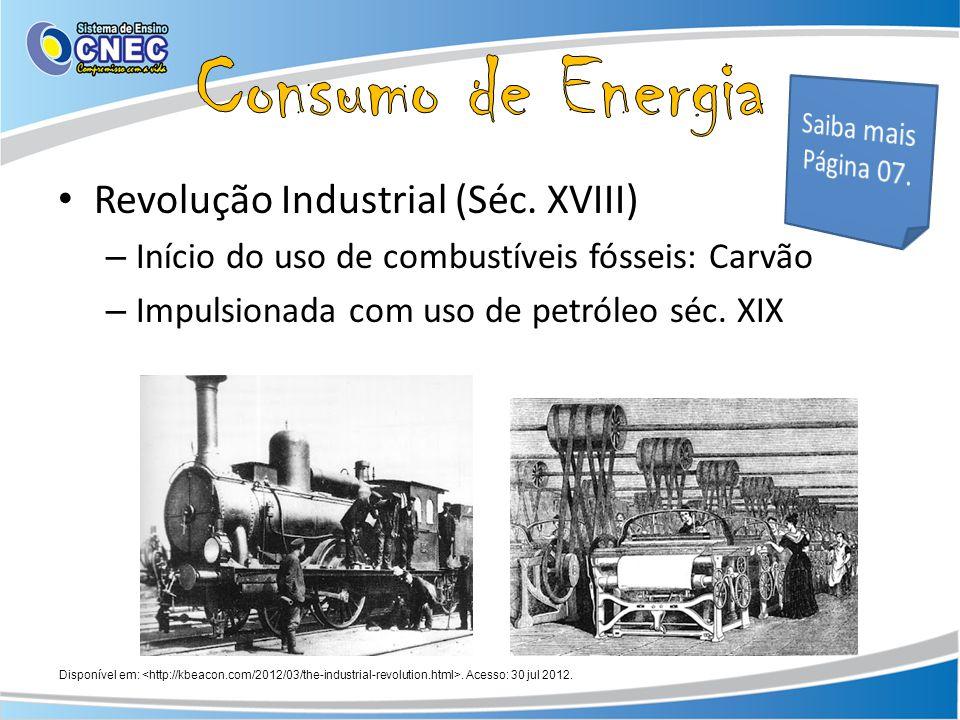 Consumo de Energia Revolução Industrial (Séc. XVIII)