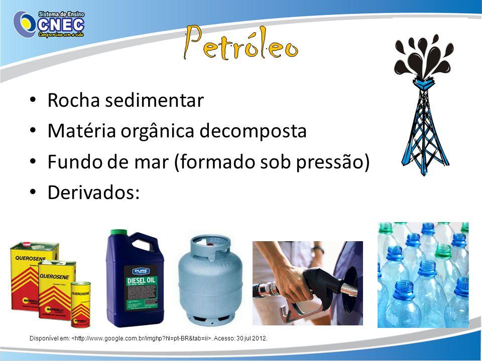 Petróleo Rocha sedimentar Matéria orgânica decomposta