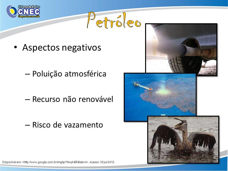 Petróleo Aspectos negativos Poluição atmosférica Recurso não renovável